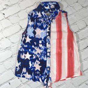 Justice red white and blue top